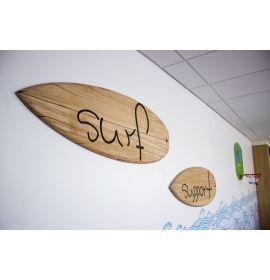 Wooden beach signs